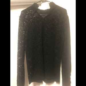 Black lace long sleeve top from Mango